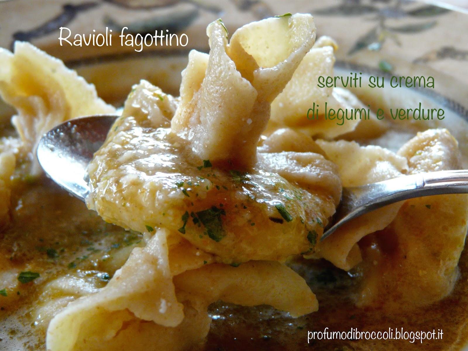 ravioli su crema di legumi